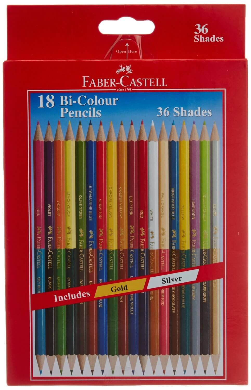 Faber Castell Bi-Color Pencils 36 Shades- Pack of 18 Pencils ...